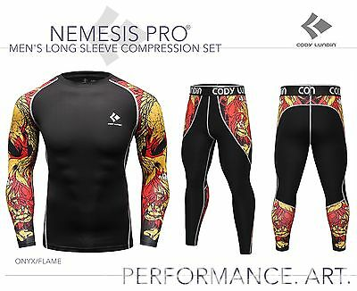 Mens Long Sleeve Compression Top + Leggings Set Flame