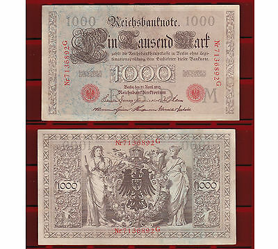 "Germania - 1000 Mark  21-Aprile1910   ""bb""   Reichsbanknote"