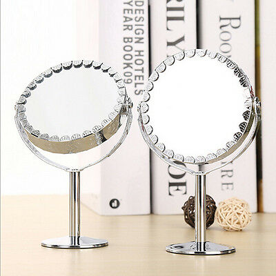 Desktop Round Duplex Double-Sided Lace Metal Make-up Mirror Rotatable Stand Hot