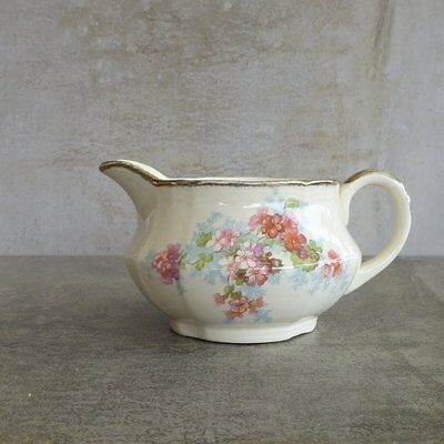 Vintage Alfred Meakin Pottery Milk Jug 300ml 1930s floral cream and pink England