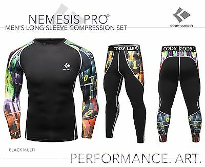 Mens Long Sleeve Compression Top + Leggings Set Black Multi