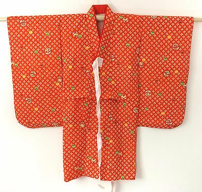 Authentic Japanese orange silk kimono for little girls, Japan import (J1163)