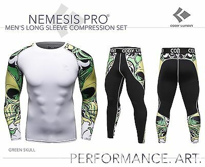 Mens Long Sleeve Compression Top + Leggings Set Green Skull