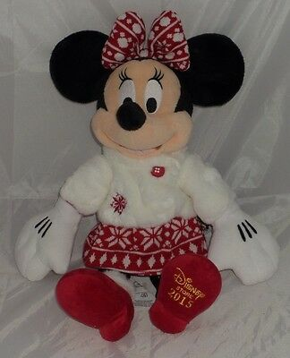 Disney Minnie Mouse Winter Soft Plush Toy Dated 2015 festive Rare Collectible