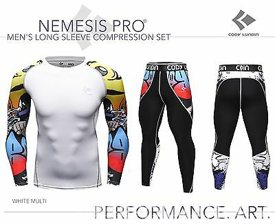 Mens Long Sleeve Compression Top + Leggings Set White Multi