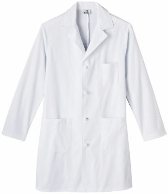 "Meta Men's Chest Pocket 100% Cotton Long Sleeve 38"" Knot Button Lab Coat. 800"