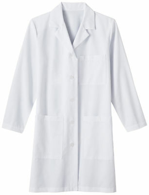 Meta Women's Long Sleeve Side Seam 3 Pockets Poplin Soil Release Lab Coat. 15113