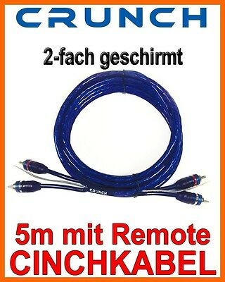 Crunch CR5RCA 5m Cinchkabel Cinchleitung Cinch AutoHifi Kabel  - REMOTE -   Auto