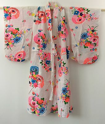Authentic Japanese summer cotton yukata for 7-8 year old girls, used (J1164)