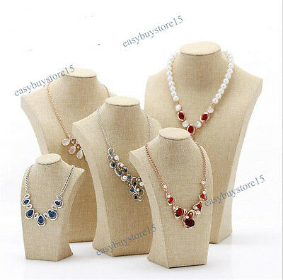 Linen Cotton Necklace Display Stand Pendant Jewelry Bust Chain Holder Showcase