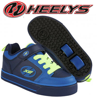 Heelys X2 Thunder Trainers Roller Skates Blue Dual Wheels Boys Shoes