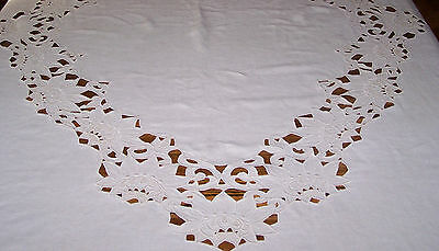 "Fabulous 80"" Long Vintage Linen Cutwork & Whitework Tablecloth, Gorgeous Design"