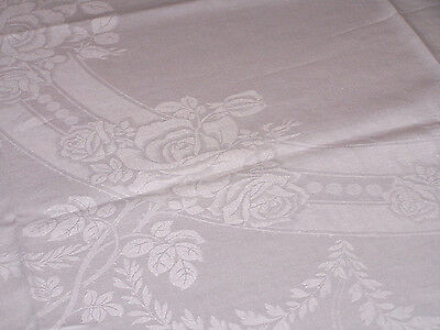 VINTAGE LINEN DAMASK TABLECLOTH, EXQUISITE ROSE FLORAL DESIGN, SNOW WHITE, c1940