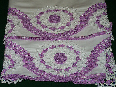 GORGEOUS VINTAGE LAVENDER CROCHET TRIMMED PILLOWCASES, STUNNING LACE, c1930