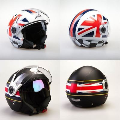 2204a683 Viper RS-v18 Union Jack Motorcycle Motorbike Open Face Crash Helmet Scooter  New