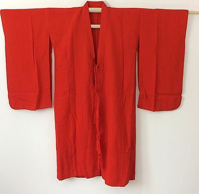 Authentic Japanese red kimono for girls, imported from Japan, good cond. (K1166)