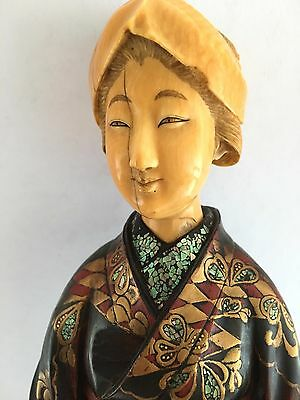 Masterpiece Antique Japansse Geisha Lacquered Carved Wooden Mother Pearl Inlays
