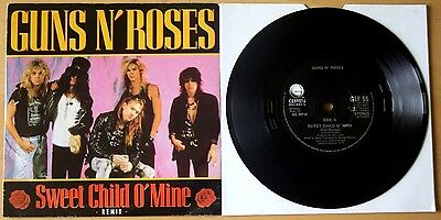 "Ex/ex Guns N Roses Sweet Child O' Mine 7"" Vinyl 45 (Gef 55)"