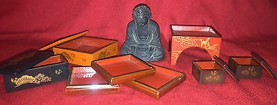 Japanese Lot Unique Vintage Detailed Boxes With Buddha Statue Figure Japan