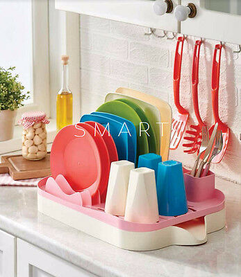 SMART Dish Drainer Rack with Dripping Tray Utensil Cutlery Kitchen Plate Holder