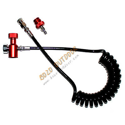 Sm Paintball Coiled Remote Hose Thick Air Line W/ QD & 1500PS (RED)