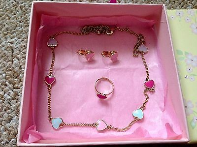 Pink Blue Lilac Heart Shape Pendant Charm Necklace, Earring & Ring Gift Box Set
