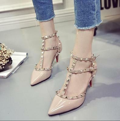 Womens Roman Rivet Studded T-Bars Pointed Toe High Heel Pumps Court Party Shoes