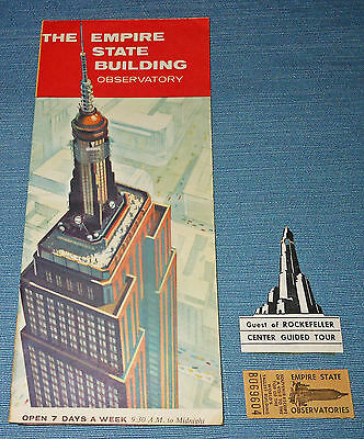 Vintage Pamphlet, The Empire State Building Observatory, Tag & Stub, 1950's
