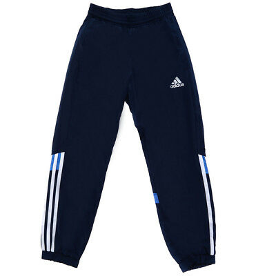 Adidas childrens navy blue climalite woven tracksuit pant bottoms S22155 age 7-8