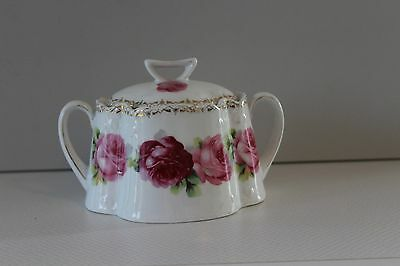 Z.S.&C Bavaria Sugar Bowl with Lid White with Pink Roses