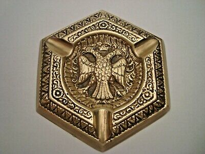 Greece antique solid brass ashtray with Byzantine double headed eagle #11