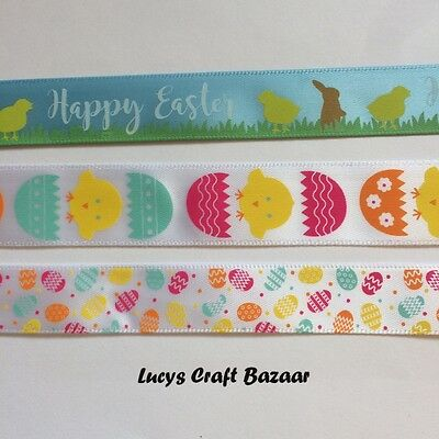 Happy Easter / Chicks / Eggs, Sold by the Metre Satin Ribbon 15mm / 20mm Spring