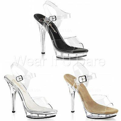 e908e4d30fe Pleaser Fabulicious Lip-108 Pole Dancing Competition Stiletto Heel Sandals  Shoes