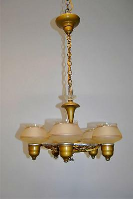 Art Deco 5 Shade Bronze Finish Chandelier With Fruit Detail