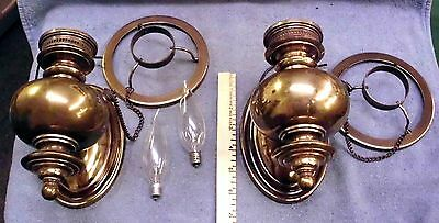 """Pair, Vintage Electric Light Wall Sconces, """"Oil Lamp"""" Design w/ Shade Holder"""
