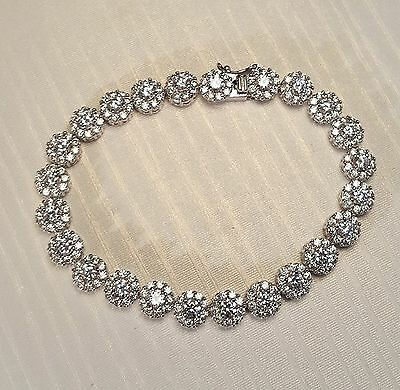 Brilliant Luxury Bridal CZ Bracelet /Wedding White Gold Plated CZ