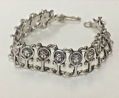 """Hand made Egyptian Silver Royalty Ankh Bracelet, 8""""  inch Stamped 800"""