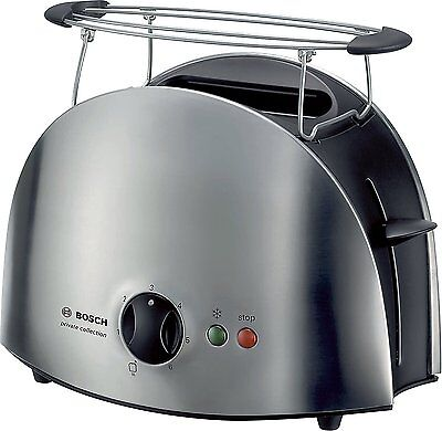 Bosch 2 Slice Wide Slot Reheat / Defrost Toaster in Stainless Steel TAT6901GB