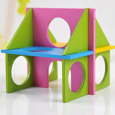 Rat Hamster Wooden Funny Gym Exercise Playground House Training Play Toy