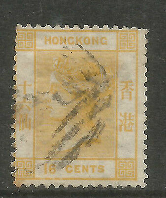 Hong Kong 1863-80 Queen Victoria 16c yellow (16) used
