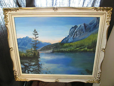 Vintage Large Original Watercolor Canadian Rocky Mountains Alberta Signed