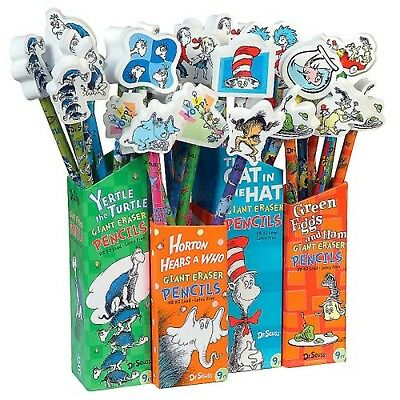 Dr Seuss Pencils with Giant Eraser Toppers 36 Pieces (66865) NEW