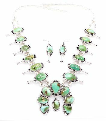 Navajo Sterling Silver Royston Squash Blossom Necklace Set - Mary Ann Spencer