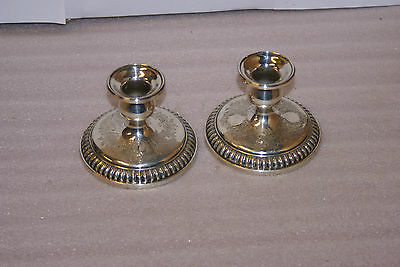 Birks Pair of Sterling Silver Single Candle Holder Embossed Floral Lace Weighted
