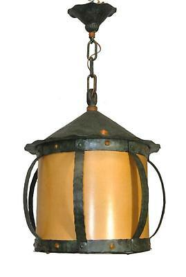 Arts and Crafts Hammered Iron Hanging Lantern Chandelier Light Fixture