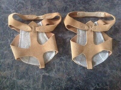 Size 6 Modern Dance Shoes Tan Lyrical Sandasole Suede Sliders