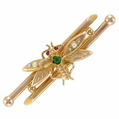 RARE Broche ancienne insecte Or jaune 18K 1870-1900 Brooch