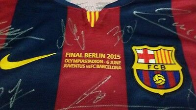 Barcelona Final Berlin Signed Soccer Jersey by Lionel Messi, etc 19 Signatures