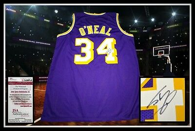 SHAQUILLE O'NEAL autographed signed LAKERS purple jersey JSA coa
