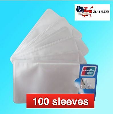 100 PACK HIGH LEVEL RFID Blocking Credit Card Sleeve Theft Protector Chip Shield